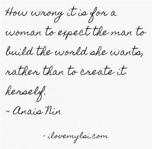 She must create it herself.