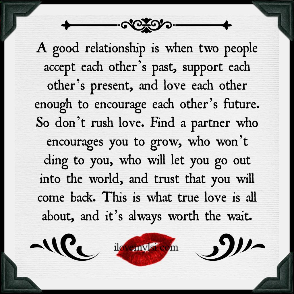 A good relationship.