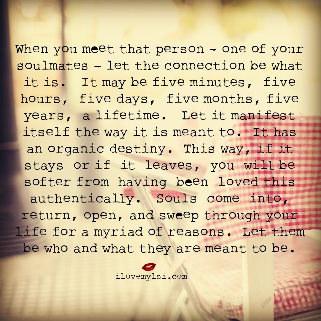When you meet one of your soulmates let the connection be what it is