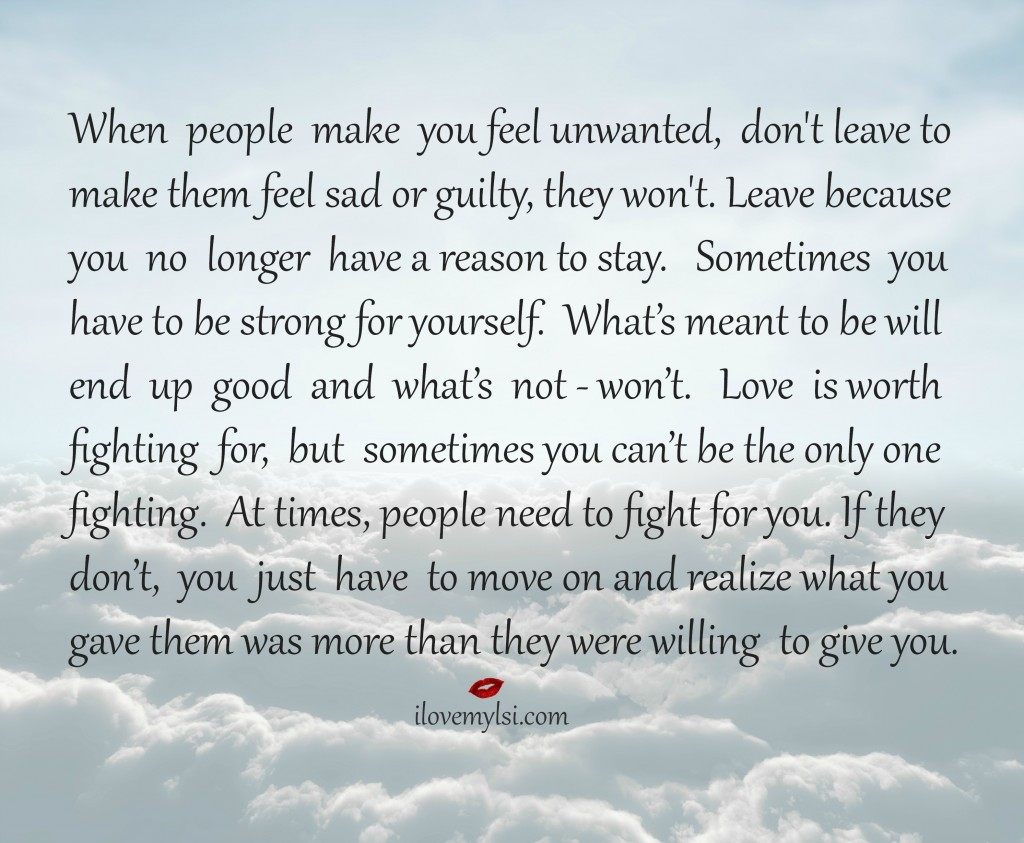 When people make you feel unwanted - I Love My LSI
