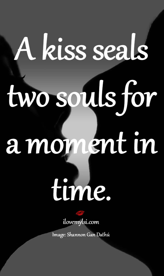 A kiss seals two souls for a moment in time