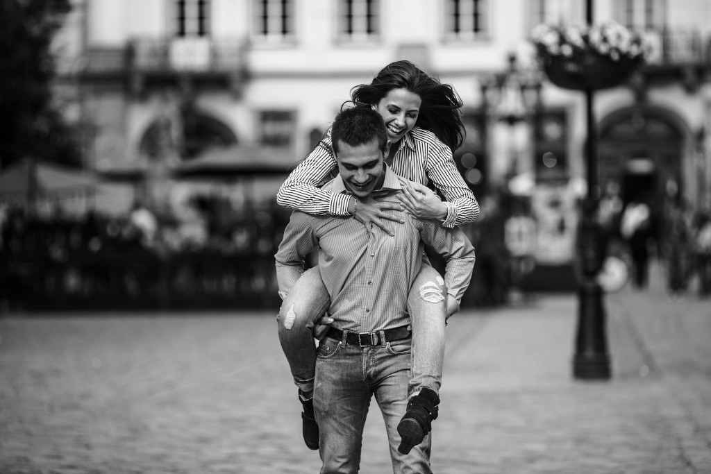 beautiful couple having fun and walking at the big city